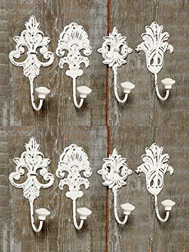 DBLV Hakenset Wandhaken Nostalgie Metallhaken Garderoben Haken Eisen lackiert - Shabby Chic in Weiß 4429000 (8er Set)