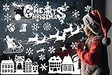 Noël Autocollant Fenetre, PVC Stickers Electrostatique Noël Réutilisable Deco Noël Vitre Facile à Coller et à Décoller Blanche Stikers Noël Décoration de Noël pour Fenêtre
