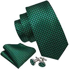 Idea Regalo - Barry.Wang Cravatta Impostato Tasca Piazza Gemelli Nozze Festa Smeraldo Verde Seta Cravatta