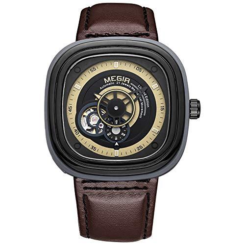 flo en tauchen QRMH Men Es Watch Mechanical Watch Fashion Trend Automatische Mechanische Herren-Uhr Schwarz Und Braune Imitation Lederriemen 47Mm Quadratische Zifferblatt,B