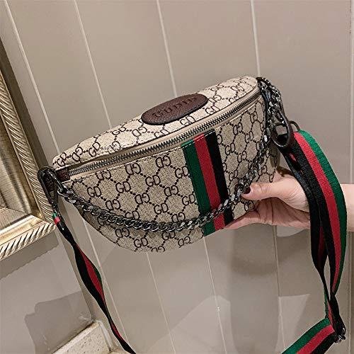 LFGCL Taschen womenChest Beuteldamen beiläufige Taschen färben Breiten Schulterbeutel des Streifens, Kaffeefarbe