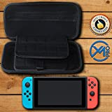 Nintendo Switch Carrying Case – EVA Hard Shell Protective Cover Case with Generous Space – Store & Safely Organise Console, 20 Game Cartridges, 2 Joy Cons & their Covers – YM PRO