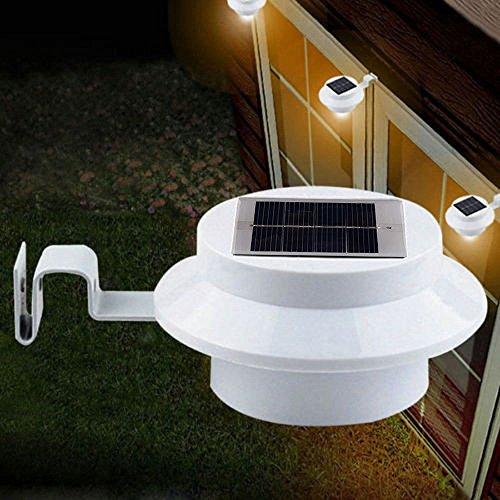 6 x Packs Luz Nocturna Solar Panana® Cerca Lampara Seguridad Exterior Techo 3 LED Luces de Pared 20 LM para Camino Jardin Garage Alero Patio Valla Redondo