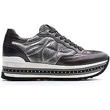 Nero Giardini Sneaker Donna Pelle Grigia con Zeppa 2fb31b9ef01