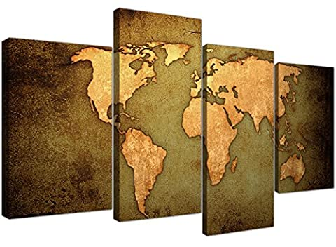 Canvas Prints of a World Map in Green and Brown for your Living Room - Cheap Retro Wall Art - 4189 - Wallfillers®