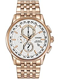 Citizen World Chronograph Men's Quartz Watch with White Dial Analogue Display and Stainless Steel Gold Plated Bracelet AT8113-55A