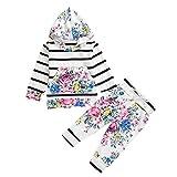 Covermason Babykleidung, 2 Stück Herbst und Winter Neugeborenes Säugling Junge und Mädchen Floraler Streifen Mit Kapuze Oberteile + Hose Outfits Bekleidungssets (80(6 Monate -24 Monate))