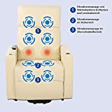 aktivshop Fernsehsessel - Relaxsessel - Komfortsessel mit Aufstehhilfe, Wärmefunktion & Massage || ausklappbarer Seitentisch || inkl. Seitenfach (Creme) - 4