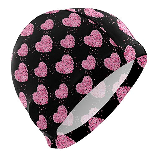 Gebrb cuffie da nuoto,cuffie da bagno,cuffia piscina flower heart floral lycra swim cap swimming for women men