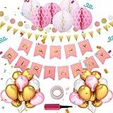 Geburtstagsdeko,Geburtstag Dekoration für Mädchen,Happy Birthday Dekoration Kindergeburtstag Deko,6 Papier Pom Poms,45Latexballons,100 Klebepunkte,1 Luftballonpumpe(Rosa)
