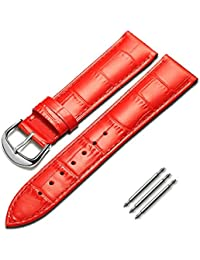 omyzam Correa de Reloj Cuero Genuino del Becerro Correa de Repuesto Ajuste para Reloj Tradicional, Reloj Deportivo o Reloj Inteligente 18mm Rojo