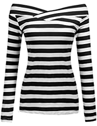 7a22c9abc24661 Zeagoo Damen Schulterfrei Kurzarmshirt Gestreiftes Shirt Off Schulter  Obertail T-Shirt…