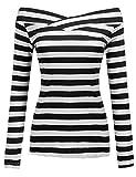 Zeagoo Damen Schulterfrei Langarmshirt Gestreiftes Shirt off Schulter Obertail T-Shirt Tops (EU 38/ M, Schwarz)