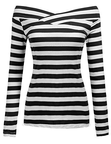 Zeagoo Damen Schulterfrei Langarmshirt Gestreiftes Shirt off Schulter Obertail T-Shirt Tops (EU 42/ XL, Schwarz)