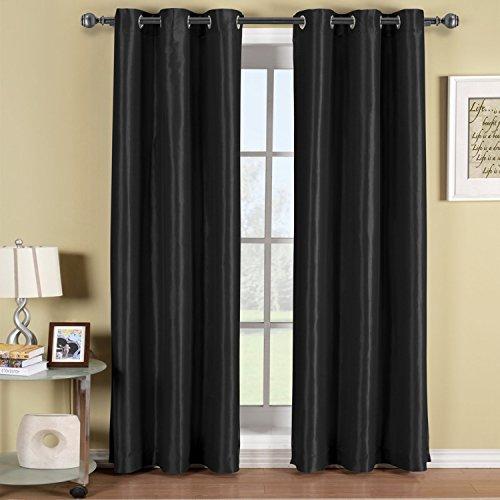 "Elegant Comfort Triple Layer (Set of 2 Panel) - SOLID BLACKOUT GROMMET PANEL - Room Darkening, Energy Saving and Noise-Reducing - 54"" Width X 84"" Length - Black"