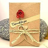 Missley 1pcs Grußkarte Thanksgiving-Karten Weihnachtskarte Einladungskarte Papier Blank Umschläge mit getrockneten Blumen (Rose-1PCS)