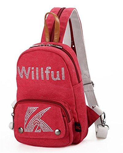 Auspicious beginning Lässigen Stil paillette multifunktionales kleine braune Brust Tasche Rucksack für Frauen Rot