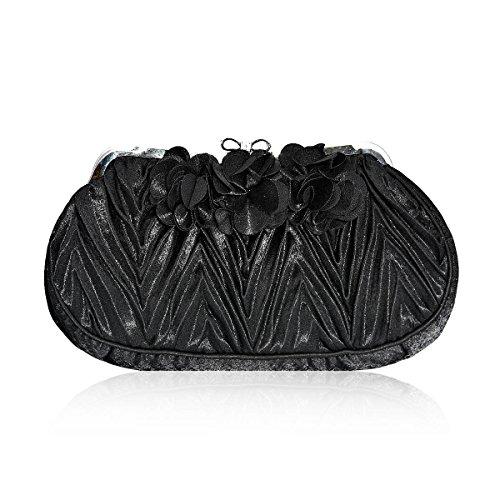 Damara® Damen Bowknot Strass Verschluss Handtaschen Mit Blumen-Dekor Schwarz
