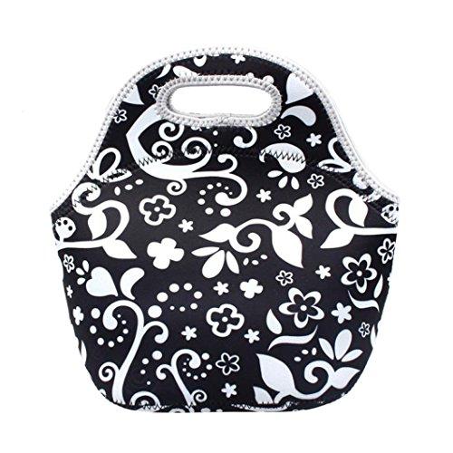 Coloré(TM) Sac Repas Lunch Bag Sac à Déjeuner Isotherme Sac chaud de récipient de nourriture de déjeuner de néoprène d'isolation thermique chaude (Noir)