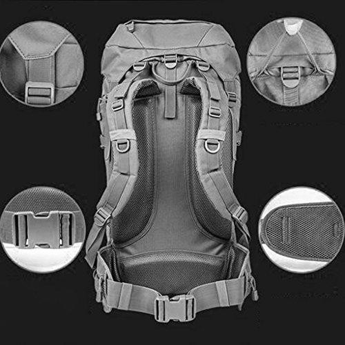 AMOS Borsa da montagna con zaino spalla maschio e femmina viaggio sacchetto escursionistico 80L fino zaino camuffamento capacità ( Colore : Black Mang grain ) Nero