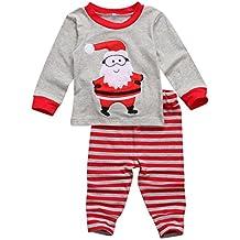 256dc799d6884 BriskyM Vêtement Bébés Enfants Fille garçon Unisexe Ensembles Manches  Longues Noël Pajamas père Noël T