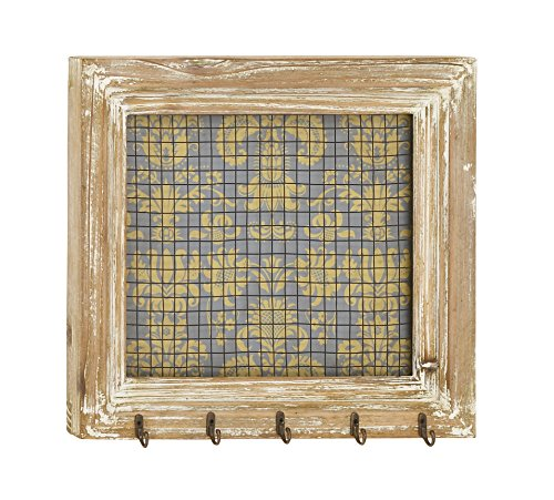 """Deco 79 Wood and Metal Wall Jewelry, Iron, MDF, Fir, 16"""" W/14"""" H"""