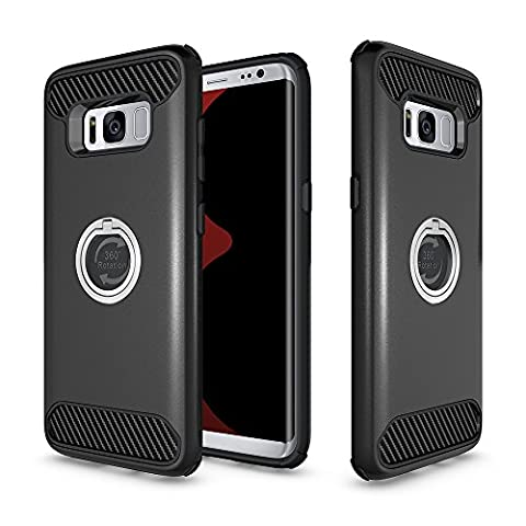 OnPrim 2 in 1 Hard PC And Flexible Silicone Rubber Shock Proof Dual Protective Cover Case Built-in Phone Ring Kickstand For Samsung Galaxy S8 5.8 Inth