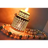 Set Of Two Decorative Latkan With Lantern For Festival And Any Occasion With Two Battery Bulbs In Laltern And String Made Of High Quality White Beads.