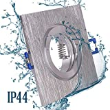 6x Einbaustrahler Bad IP44 mit GU10 Fassung ECKIG alu gebürstet Einbauspot Einbauleuchte Rahmen Rostfrei Deckenspot Strahler Spot