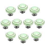 FBSHOP(TM) 10 Stück Grün Retro Stil Runde Keramik-Türknauf Türknopf Möbelgriffe für Schränke, Schubladen, Truhen, Schränke, Küche, Schlafzimmer, Badezimmer