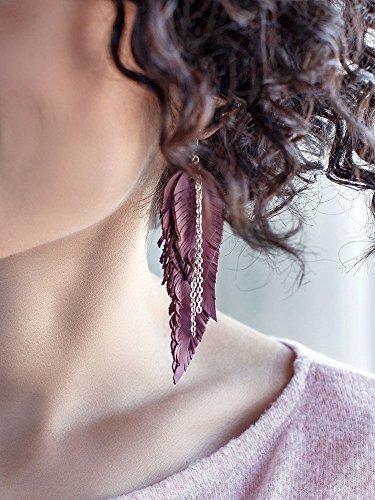 orecchini-color-rosa-polvere-di-vera-pelle-a-forma-di-piuma