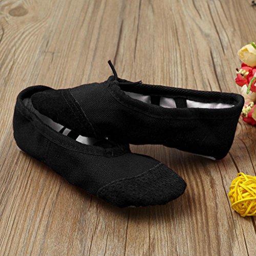 Jamicy Bambini bambini Canvas Ballet Pointe Dance Scarpe fitness ginnastica scarpe Nero