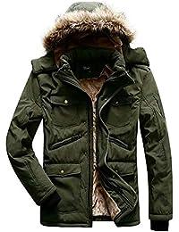 visionreast Herren Warme Jacke Winterjacke Outdoor Gefütterte Kapuzenjacke Parka  Jacke Wärmejacke Übergangsjacke Wintermantel Coat Wärmemantel Warm 4b541f907a
