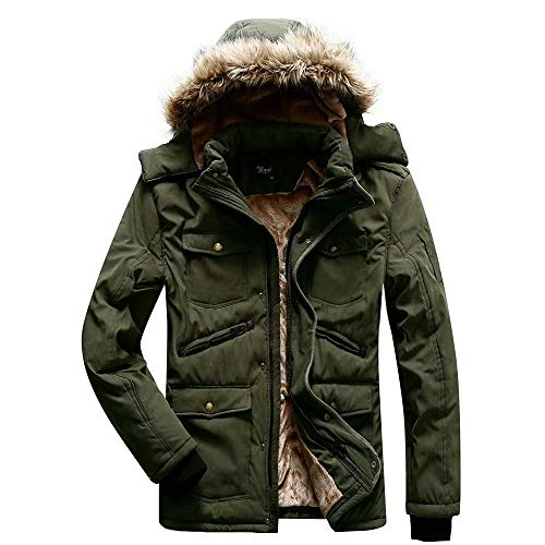 Herren Warme Jacke Gefütterte Winterjacke Outdoor Übergangsjacke Kapuzenjacke, Grün, M