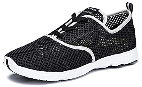 Viihahn Men's Breathable Mesh Lace-Up Quick Drying Aqua Water Shoes Size 9 UK Black