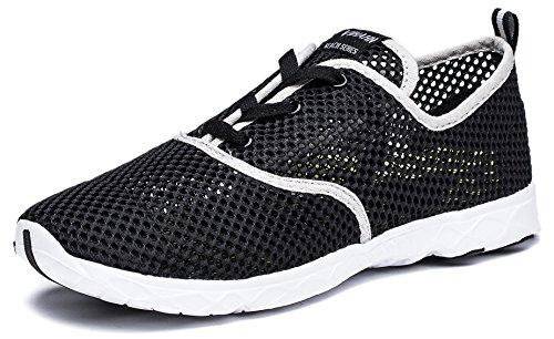 Viihahn Hommes D'eau Respirante Mesh Lace-Up Séchage Rapide Aqua Chaussures Noir