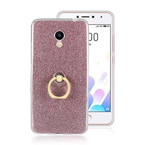 EKINHUI Case Cover Soft Flexible TPU Back Cover Case Shockproof Schutzhülle mit Bling Glitter Sparkles und Kickstand für Meizu Meilan A5 ( Color : Pink ) Pink