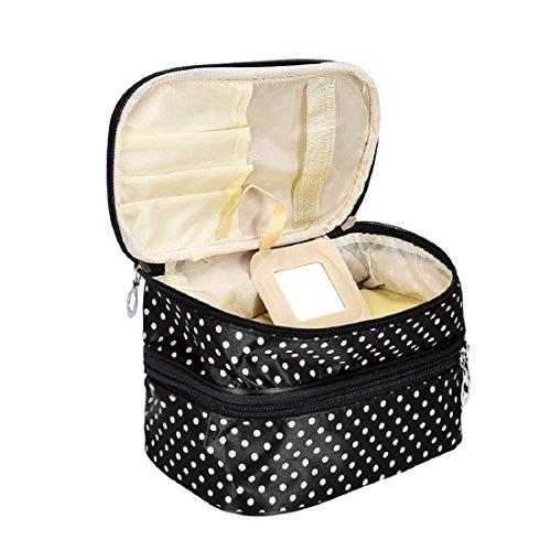 Tonsee Frauen Portable kosmetische Veranstalter Make-up Hardcase Zip Beutel(schwarz) (Trolley-make-up Veranstalter)