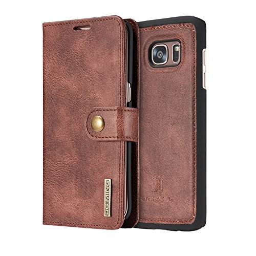 COCK-Vintage-Genuine-Leather-Wallet-Case-Flip-cover-Magnetic-Detachable-Leather-Back-Cover-with-Card-Holder-for-Samsung-Galaxy-S7-edge-Red-Taupe