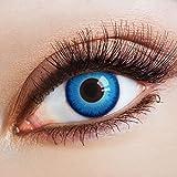 aricona Farblinsen – deckend blau - farbige Kontaktlinsen für Halloween & Cosplay – bunte, farbig intensive blaue Jahreslinsen für magische signalblaue Augen