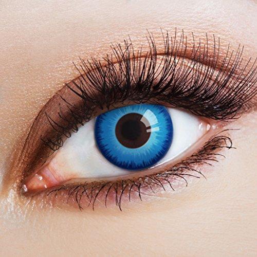 aricona Kontaktlinsen Farblinsen blaue Kontaktlinsen - 100 % deckende, farbige Jahreslinsen für alle Augenfarben ohne Stärke, für Anime, Cosplay, Karneval, Fasching, Halloween Kostüme und dunkle Augen (Dunkler Karneval Kostüm)