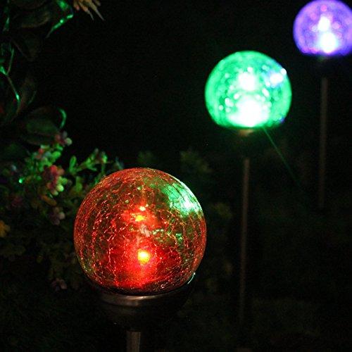 NORDSD Solarlampen, 4er Set Edelstahl LED Farbwechsel Solar Crackle Glaskugel Licht mit Erdspieß