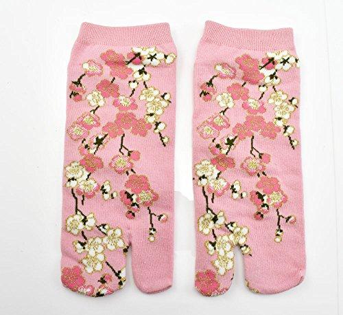 Tabi Socken 'Hanabira' pink Japanische Split 2-toe Ninja Flip Flop Geta Sandale Knöchel Socken (Arts Japanische Martial Kostüm)