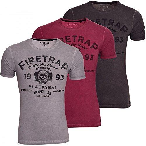 Firetrap Herren T-Shirt Violett - Merlot