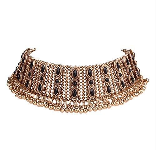 XZZZBXL Damenhalskette Böhmen Luxusmarke Vintage Halskette Deluxe Metall Hals Kette Ball Kurz Halsband Juwel Quaste Mit Schmuck Für Frauen - Vintage Juwel Hals
