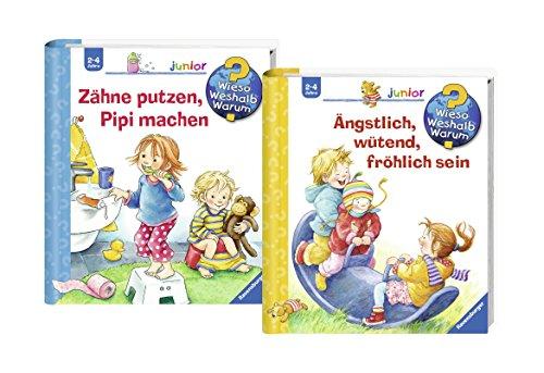 Ravensburger Junior Bücher Set - Wieso? Weshalb? Warum? Zähne putzen, Pipi machen + Ängstlich, wütend, fröhlich sein (Kleinkinder Für Lern-spiele Zu Hause)