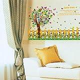 Zaun sockelfarbe blume baum schmetterling wandaufkleber wohnzimmer schlafzimmer sofa veranda schrank kindergarten kinderzimmer dekoration 60x90 cm