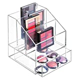 mDesign Organiseur Maquillage ? boîte de Rangement Maquillage avec Trois Compartiments et Un tiroir pour Produits de Maquillage et Produits de beauté ? Rangement Make up idéal ? Transparent
