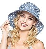 Visière Eté Plage Voyage UPF UV Femme Chapeau Casquette à Visière Anti-soleil Pliable Chapeau été avec joli Point