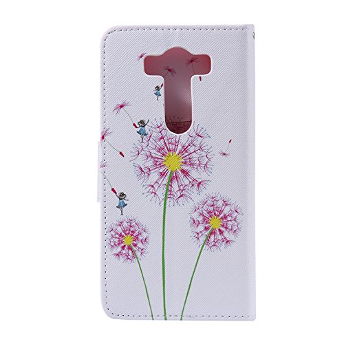 Feeltech LG V10 Hülle [Berühren Sie Stift] Elegant PU Leder Tasche Magnetverschluss Ultra Schlanke hülle Gemalte Colour Muster Design Mit Back Cover Etui Skin Shell Purse hülle Standfunktion Kredit Ka Rosa Löwenzahn-Fee